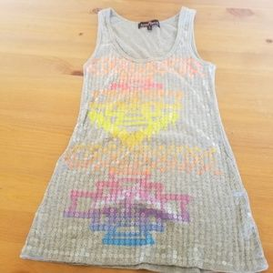 Almost Famous Gray Tank Top With Neon  Pattern